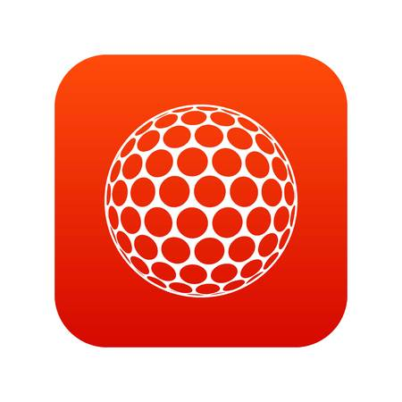 Black and white golf ball icon digital red Illustration