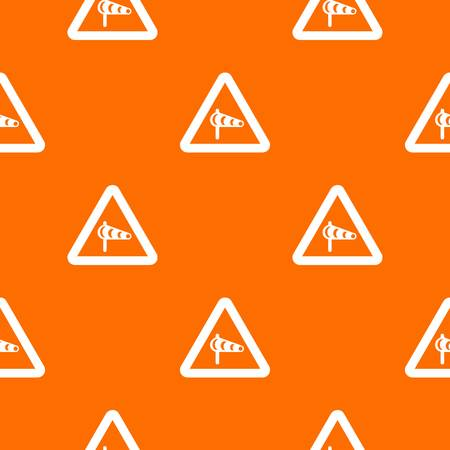 Sign warning about cross wind from the left pattern seamless Illustration