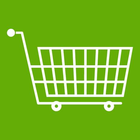 Large empty supermarket cart icon green