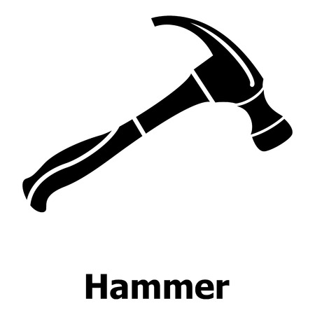 Hammer icon, simple black style