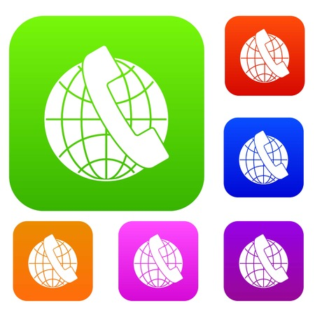 anywhere: Handset and globe set collection Illustration