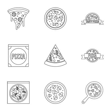 margherita: Delicious pizza icons set, outline style