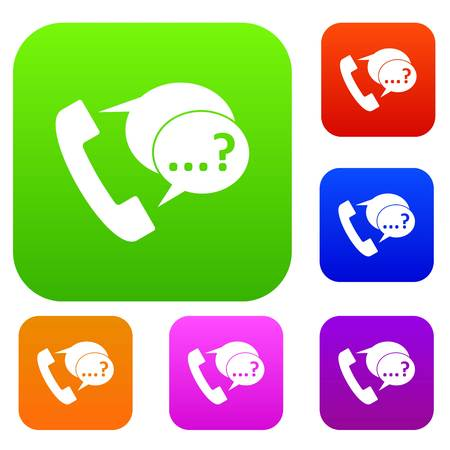Phone sign and support speech bubbles set collection