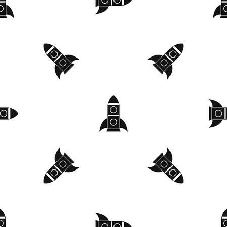 Rocket pattern seamless black