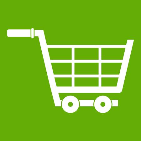 Large shopping trolley icon green