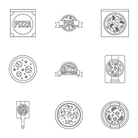 margherita: Pizza assortment icons set, outline style