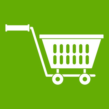 convenient: Plastic shopping trolley icon white isolated on green background. Vector illustration