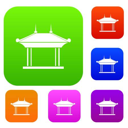Pagode set icoon in verschillende kleuren geïsoleerde vector illustratie. Premium collectie