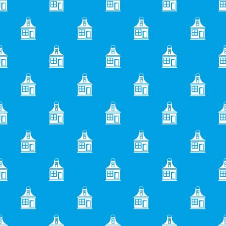 small business: Small house pattern repeat seamless in blue color for any design. Vector geometric illustration