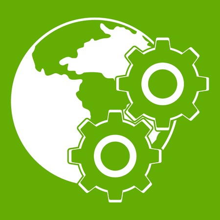 World planet and gears icon white isolated on green background. Vector illustration Illustration