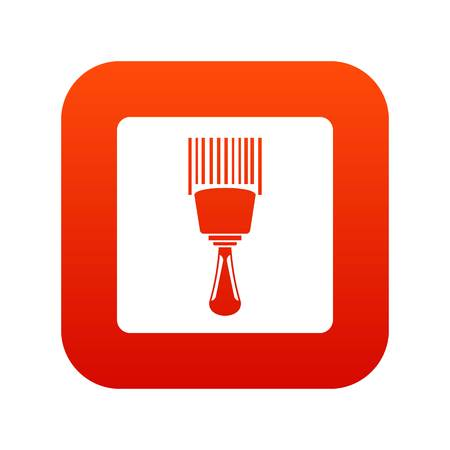 Bar code scanner icon digital red for any design isolated on white vector illustration
