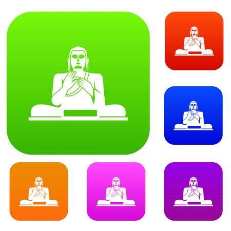 Buddha statue set icon in different colors isolated vector illustration. Premium collection