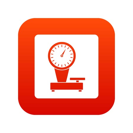 Weight scale icon digital red