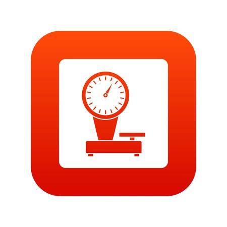 weigh machine: Weight scale icon digital red
