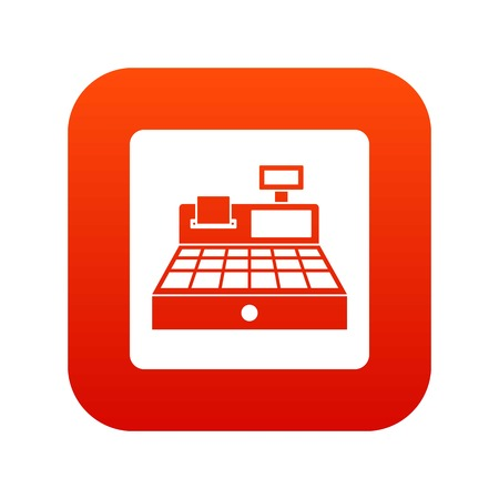 Sale cash register icon digital red