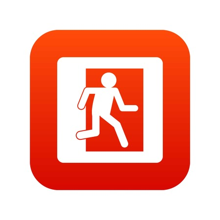 portone: Fire exit sign icon digital red