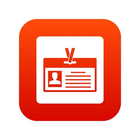 Identification card icon digital red