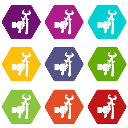 Hand holdimg calipers icon set color hexahedron Illustration