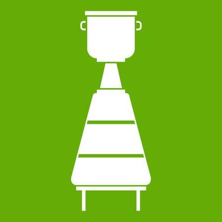 Wine distillery equipment icon green Illustration