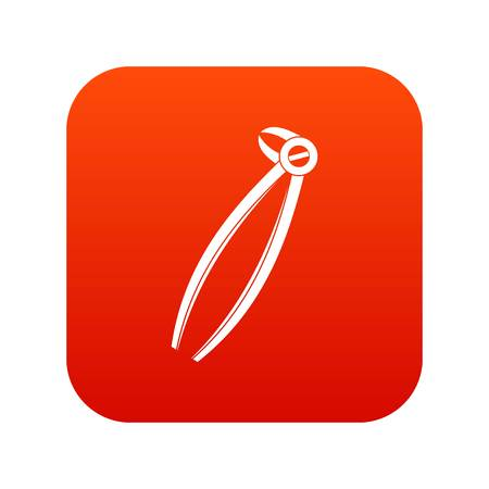 Tooth dentist forceps icon digital red