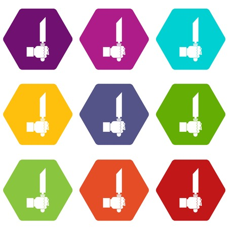 Pincer or plier in man hand icon set color hexahedron