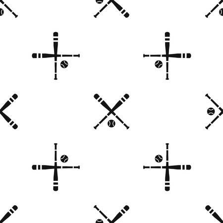 Baseball bat and ball pattern seamless black