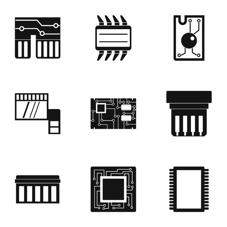 Hardware icons set, simple style