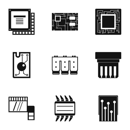 Chip icons set, simple style