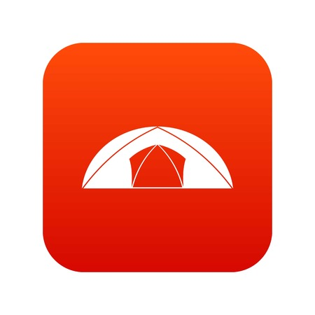 Dome tent for camping icon digital red