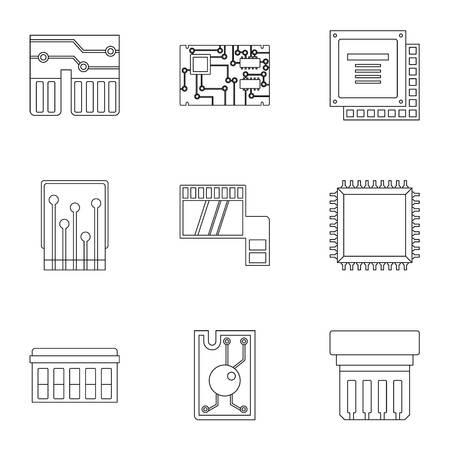 icônes de puce définies . style de contour ensemble de 9 icônes vectorielles de puce pour la conception web