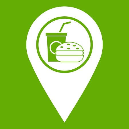 Fast food and restaurant map pointer icon white isolated on green background. Vector illustration