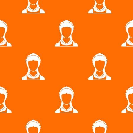 Reinigungshaushaltsdienstmädchen-Musterwiederholung nahtlos in der orange Farbe für irgendein Design. Geometrische Vektor-Illustration