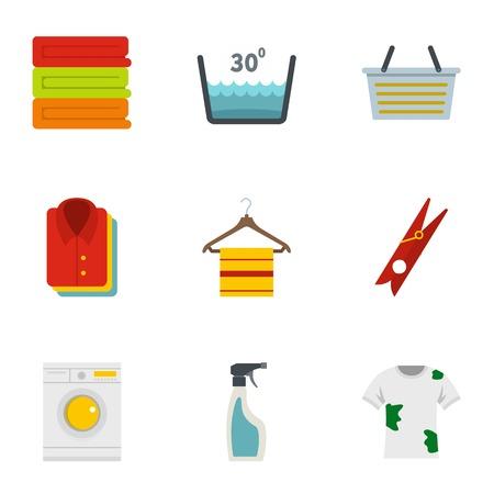 antiseptic: Domestic washing icons set. Flat style set of 9 domestic washing vector icons for web design Illustration