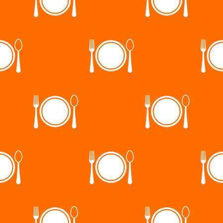 Place setting with plate,spoon and fork pattern repeat seamless in orange color for any design. Vector geometric illustration Illustration