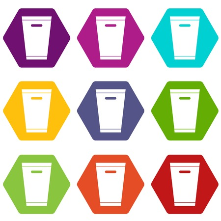 Trash can icon set many color hexahedron isolated on white vector illustration