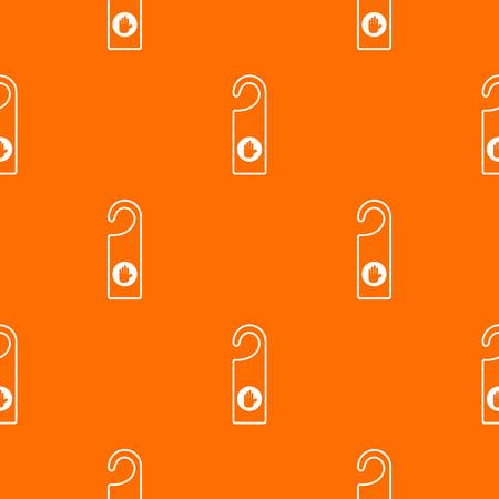 door handle: Do not disturb sign pattern repeat seamless in orange color for any design. Vector geometric illustration