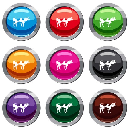 Switzerland cow set icon isolated on white. 9 icon collection vector illustration