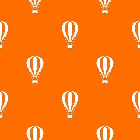 Hot air balloon pattern repeat seamless in orange color for any design. Vector geometric illustration