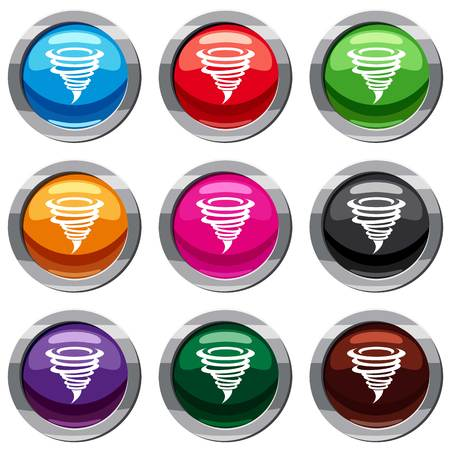 Tornado establece icono aislado en blanco. Ilustración de vector de colección de 9 iconos Foto de archivo - 84921449