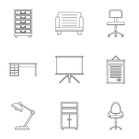 Comfort furniture icons set. Outline style set of 9 vector icons for web design Illustration