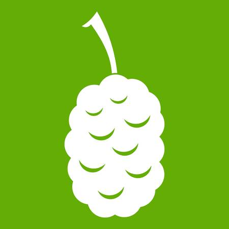 Fruit of mulberry icon white isolated on green background. Vector illustration