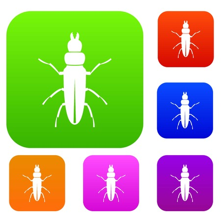 coleoptera: insect set icon in different colors isolated vector illustration. Premium collection