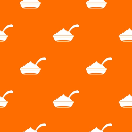 Bowl of caviar with spoon pattern repeat seamless in orange color for any design. Vector geometric illustration