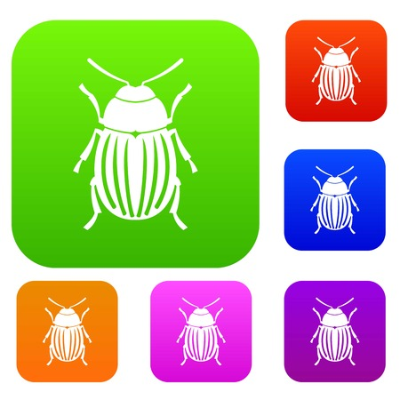coleoptera: Colorado potato set icon in different colors isolated vector illustration. Premium collection