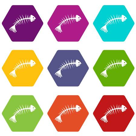 Fish bones icon set many color hexahedron isolated on white vector illustration
