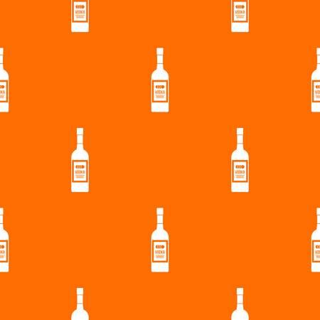 Bottle of vodka pattern repeat seamless in orange color for any design. Vector geometric illustration