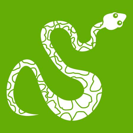 python skin: Black spotted snake icon white isolated on green background. Vector illustration