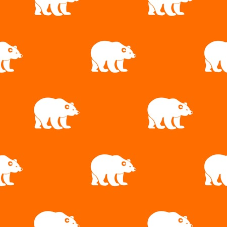 Bear pattern repeat seamless in orange color for any design. Vector geometric illustration