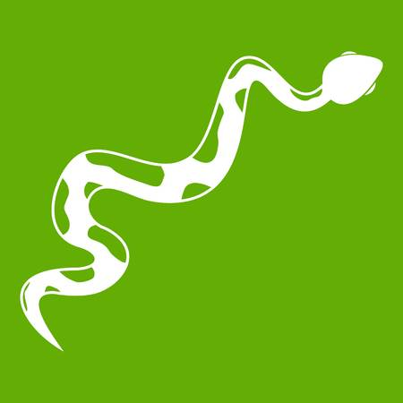 python skin: Creeping snake icon white isolated on green background. Vector illustration