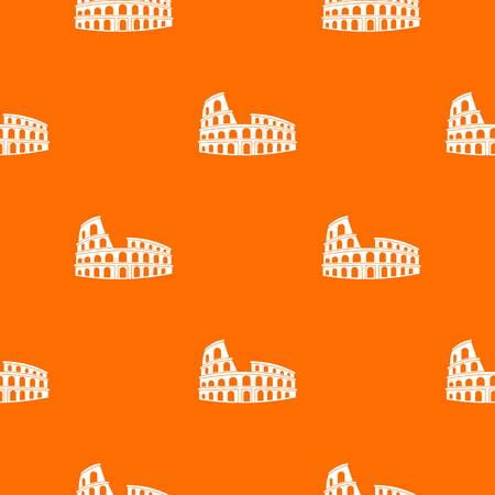 Roman Colosseum pattern repeat seamless in orange color for any design. Vector geometric illustration